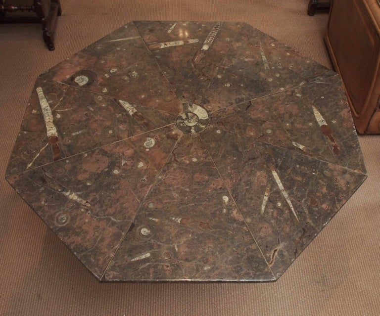 Eight pieces of fossilized marble are beautifully joined at the center by an Ammonite Shell. The octagonal table has a metal base, and measures 40 inches in diameter by 28 3/4 inches high, 1960s, French.