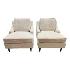 Mid Century Ivory White Crushed Velvet Lounge Chairs