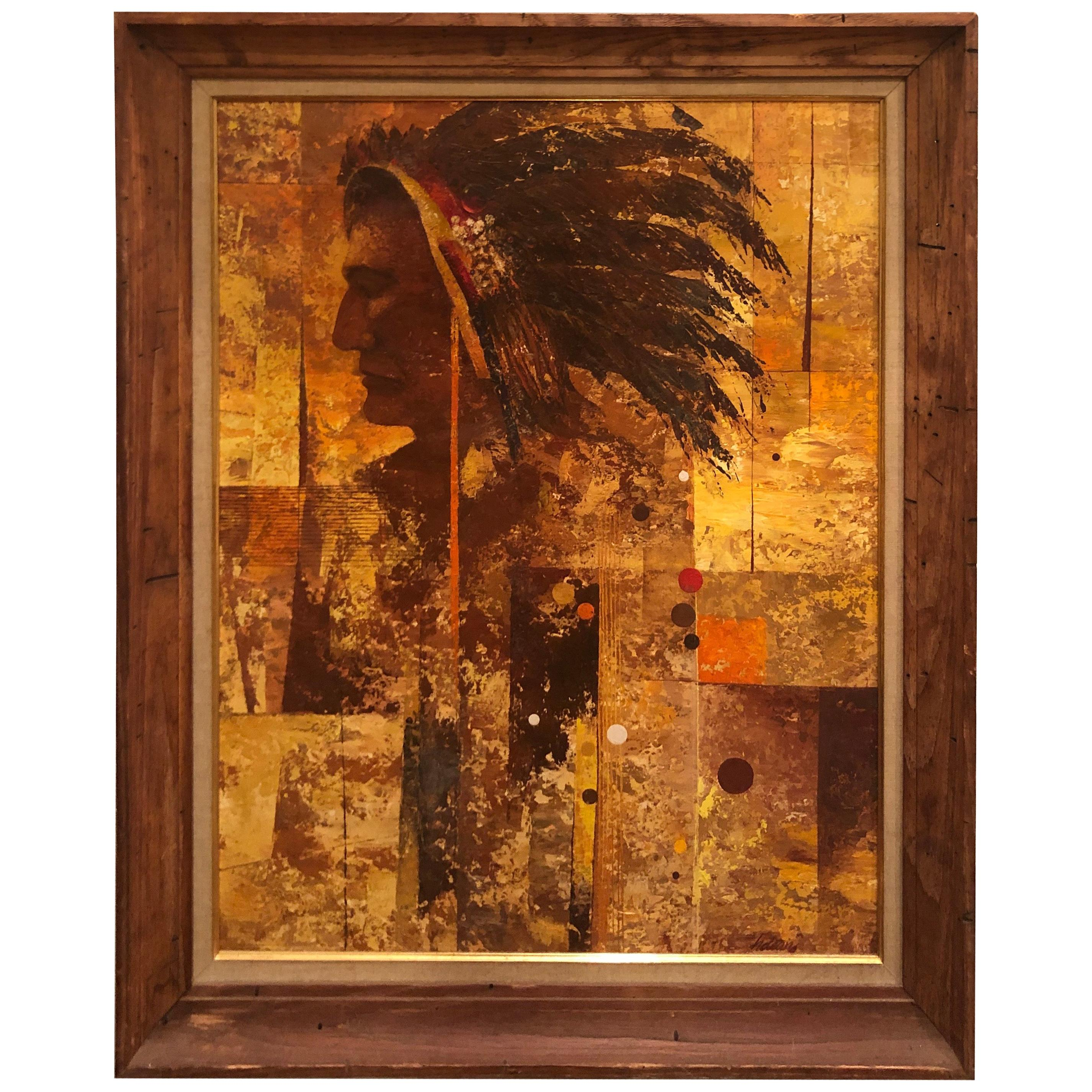 Mid Century Oil on Board of an American Indian