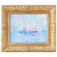 Midcentury Oil on Canvas Painting of Sailboats