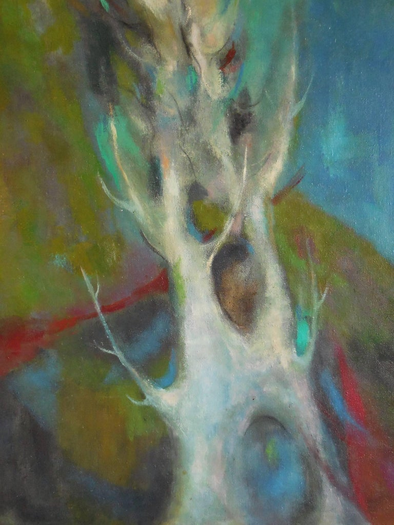 Midcentury Oil Painting Abstract Landscape, 1965 In Excellent Condition For Sale In Miami, FL