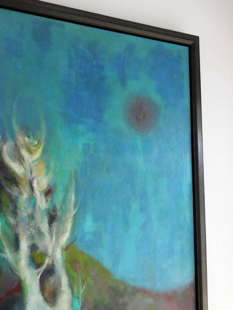 Midcentury Oil Painting Abstract Landscape, 1965 For Sale 3