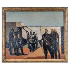 "Mid Century Oil Painting by Ivar Morsing Dated 1954, Titled ""Samsprak gruppvis"""