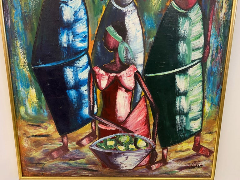 20th Century Mid Century Oil Painting For Sale