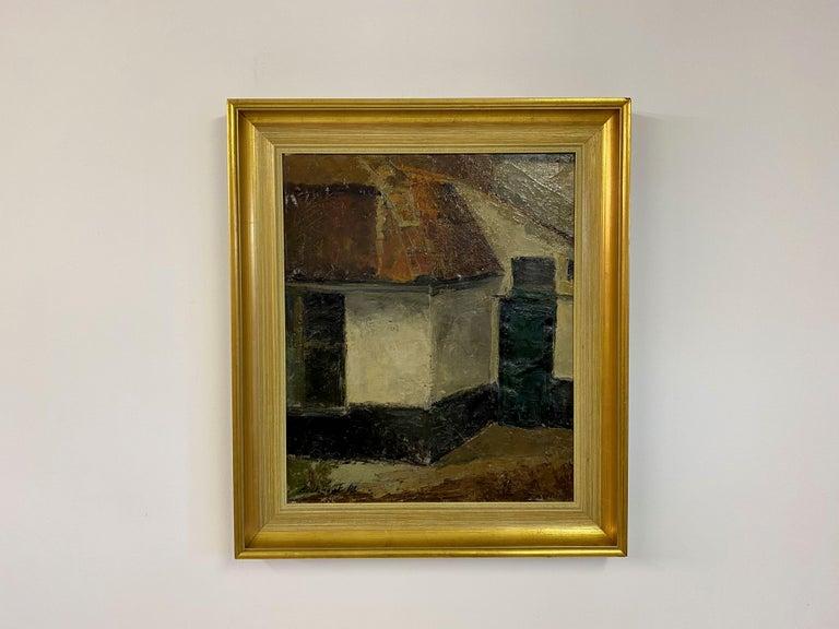 Mid-Century Modern Mid Century Oil Painting on Canvas For Sale