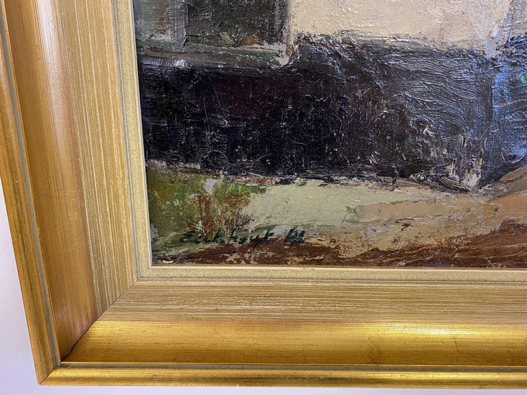 Belgian Mid Century Oil Painting on Canvas For Sale