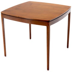 Midcentury Oiled Walnut Rounded Square Game Table