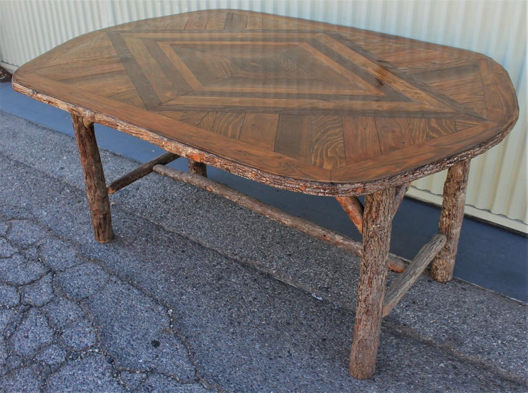 Hand-Crafted Mid Century Old Hickory Table and Five  Chairs For Sale