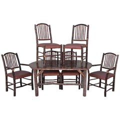 Mid Century Old Hickory Table and Five  Chairs