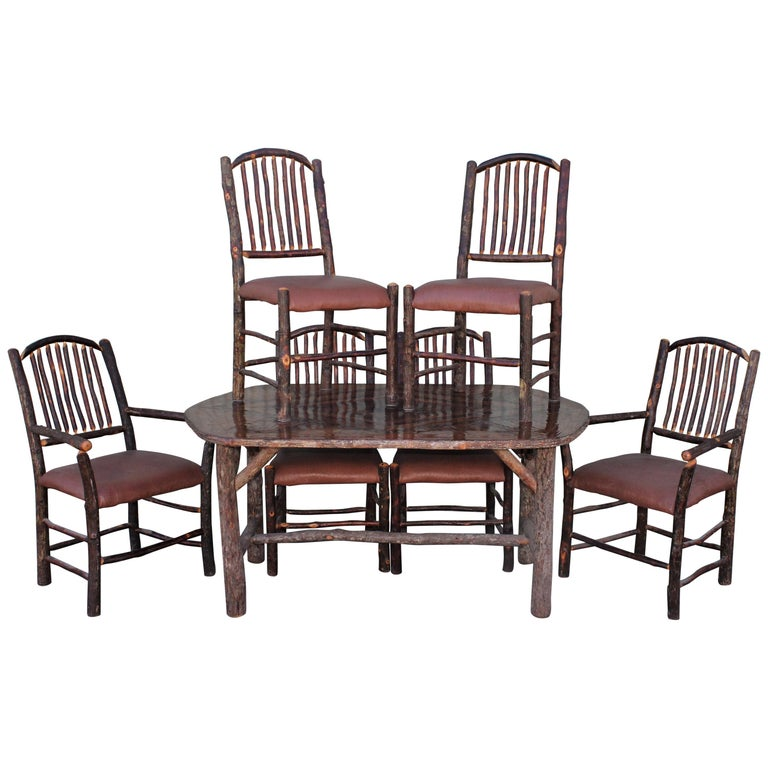 Mid Century Old Hickory Table and Five  Chairs For Sale