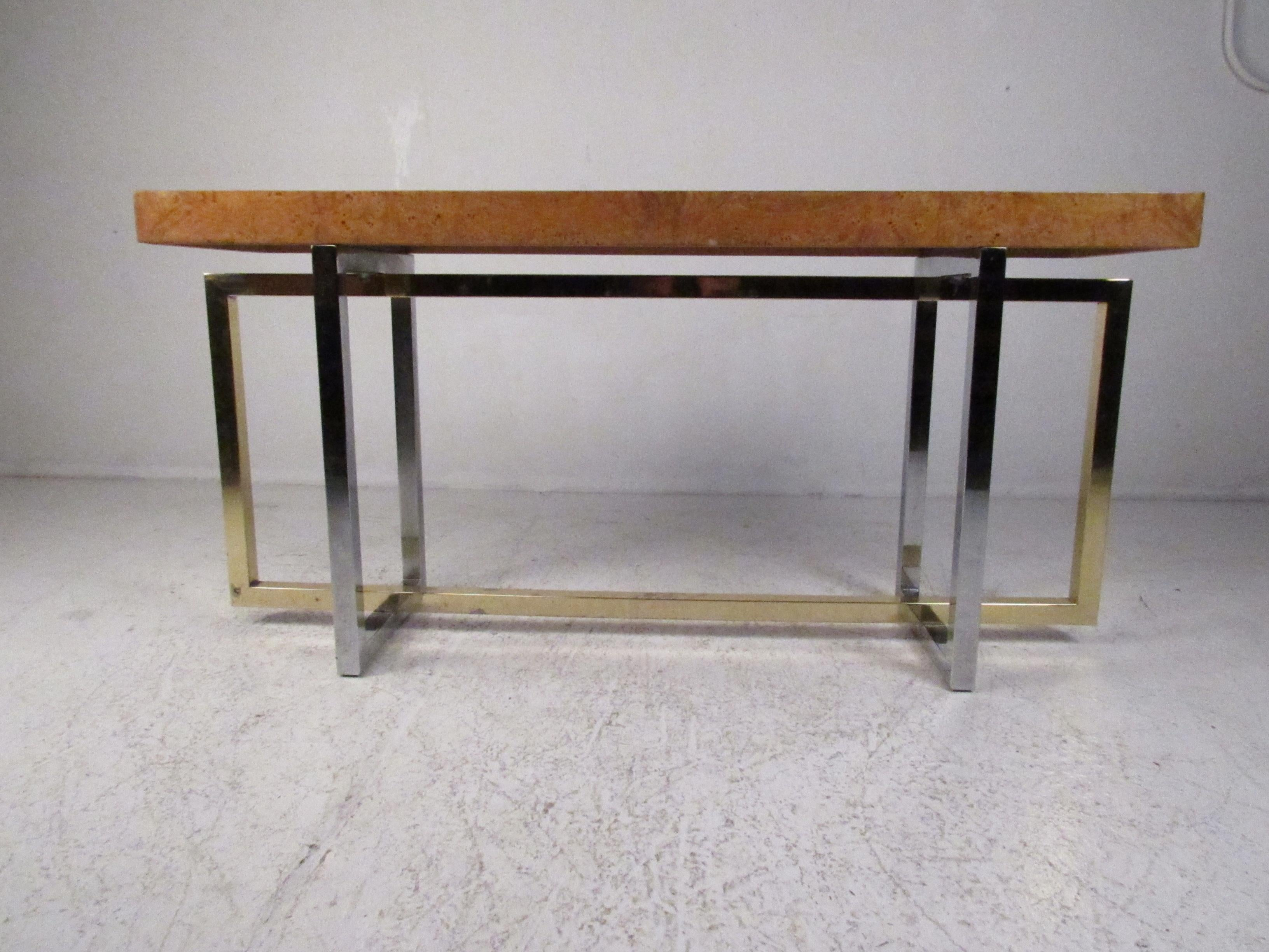 Midcentury Olive Burl Console Table