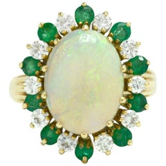 Midcentury Opal Cocktail Ring Diamond Emerald Dome Cluster 4 1/2 Carat Vintage