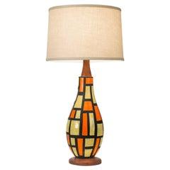 Midcentury Orange and Yellow Ceramic Lamp