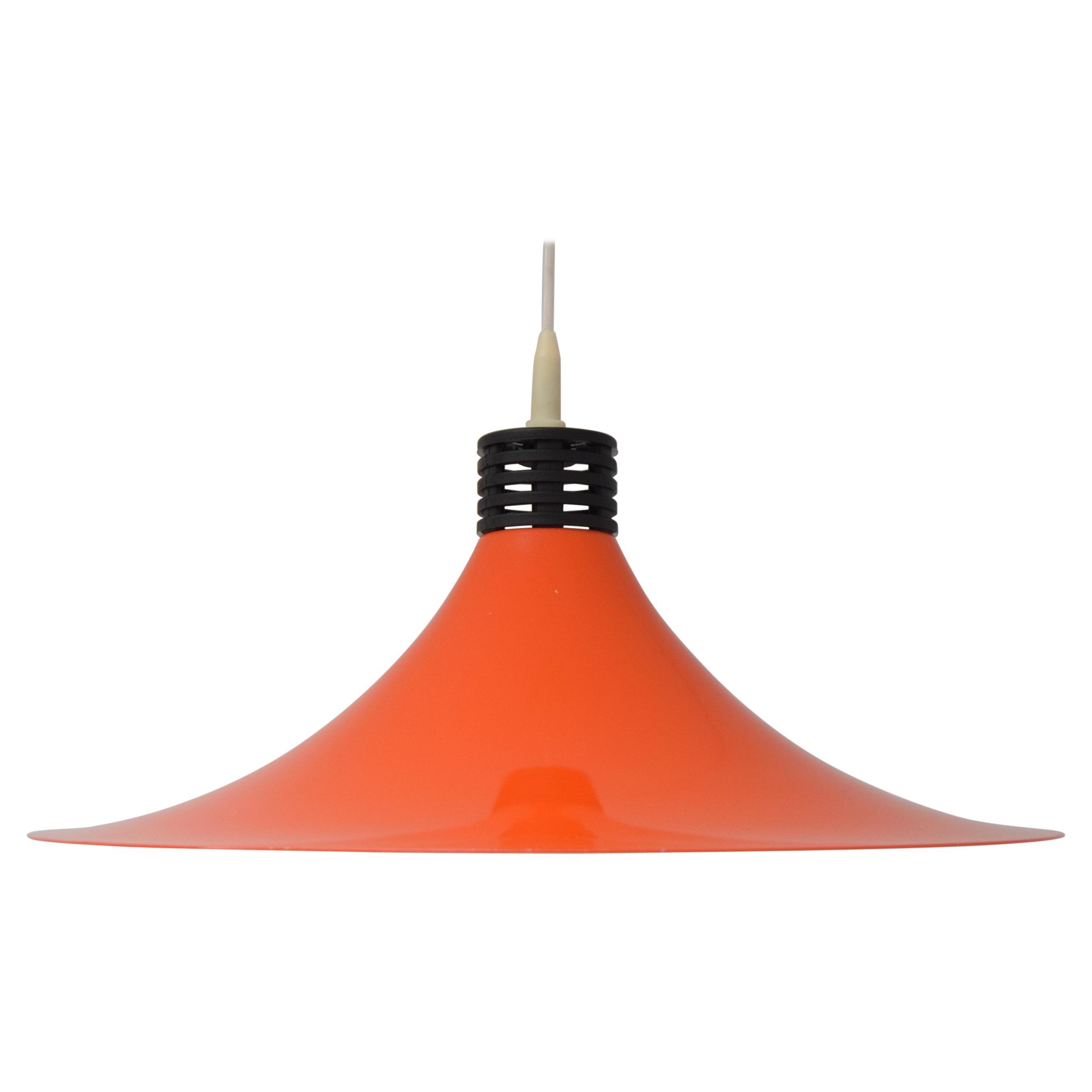 Mid-Century Orange Lacquered Metal Pendant, circa 1980's