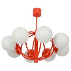 Midcentury Orbital Ceiling Lamp Pendant in Orange by Kaiser, Germany, 1960s