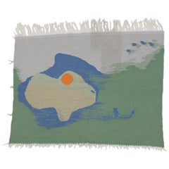 Midcentury Organic Abstract Handmade Deisgn Wall Tapestry, 1950s