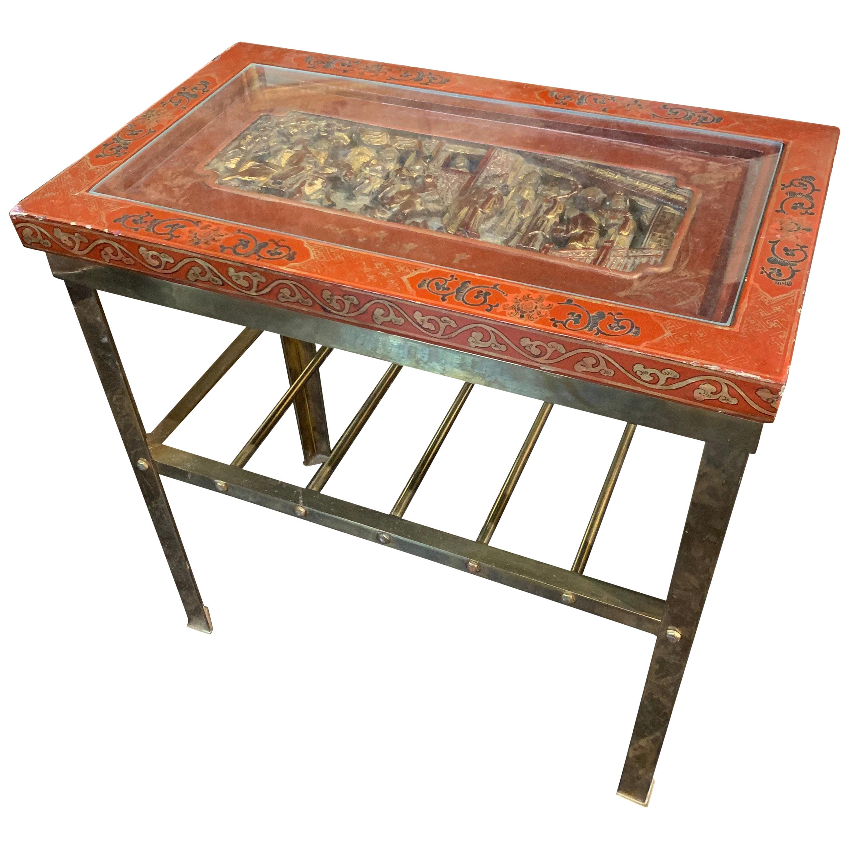 Midcentury Oriental Brass and Lacquered Side Table