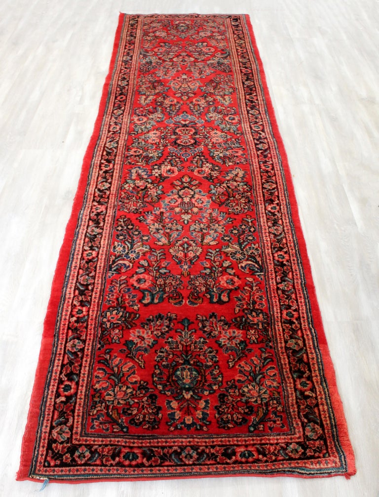 Mid-Century Modern Midcentury Oriental Hand Knotted Wool Runner Rug Red Long For Sale