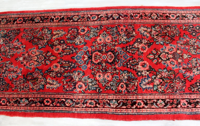 Midcentury Oriental Hand Knotted Wool Runner Rug Red Long In Good Condition For Sale In Keego Harbor, MI