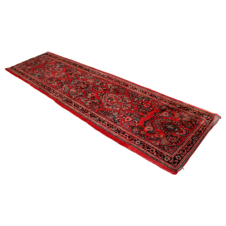 Midcentury Oriental Hand Knotted Wool Runner Rug Red Long For Sale