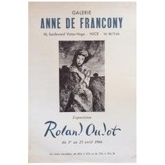 "Midcentury Original ""Anne De Francony Galerie"" Poster by Roland Oublot"