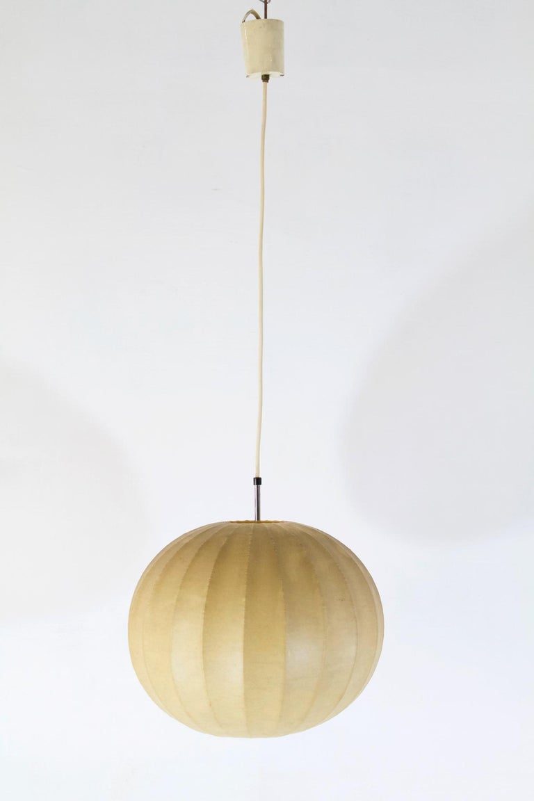 Sheepskin Midcentury Original Cocoon Pendant by Castiglioni Brothers, 1960s For Sale