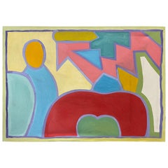 Mid-Century Original Oil on Canvas Abstract Painting by Patricia Sloane