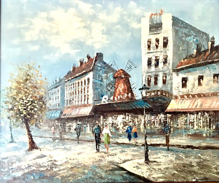 20th century original oil on canvas painting, Paris Street Scene -Moulon Rouge by, Burnett. This original piece of impressionist, impasto art is quintessential Burnett style, executed with great detail and dimensional texture. Pencil signed/printed