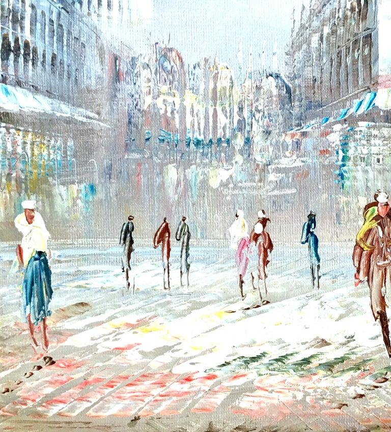 French 20th Century Original Oil on Canvas Paris Street Scene Painting by C. Burnett For Sale