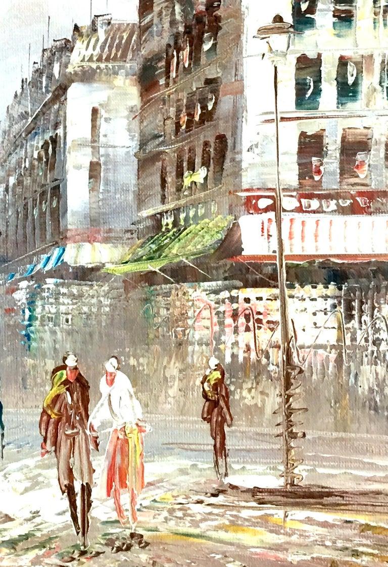 20th Century Original Oil on Canvas Paris Street Scene Painting by C. Burnett For Sale 1