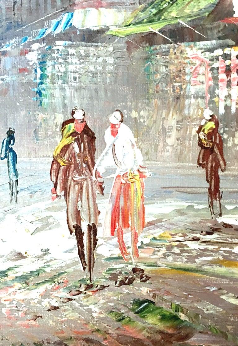 20th Century Original Oil on Canvas Paris Street Scene Painting by C. Burnett For Sale 2