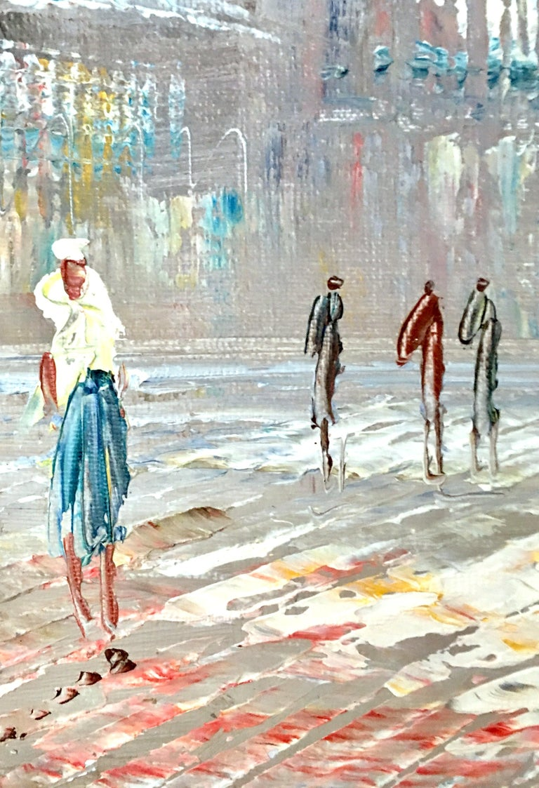20th Century Original Oil on Canvas Paris Street Scene Painting by C. Burnett For Sale 3