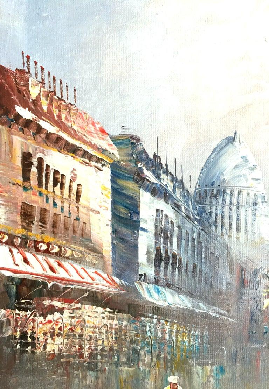 20th Century Original Oil on Canvas Paris Street Scene Painting by C. Burnett For Sale 4
