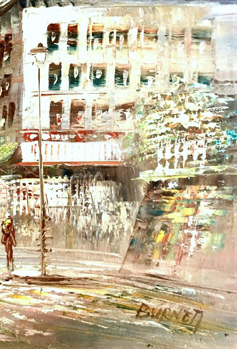 20th Century Original Oil on Canvas Paris Street Scene Painting by C. Burnett For Sale 5