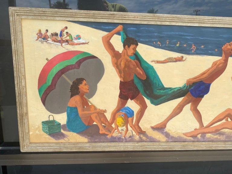 This wonderful 1955 original painting came from a very upscale estate in San Diego California. It shows a fun beach scene of friends frolicking on the beach. Really unique original mid century paintings are getting hard to fine and this one has been