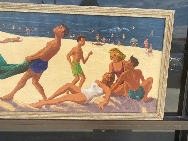 Mid-Century Modern Mid Century Original Oil Painting of Wonderful Bright Beach Scene For Sale