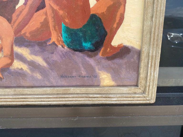 American Mid Century Original Oil Painting of Wonderful Bright Beach Scene For Sale