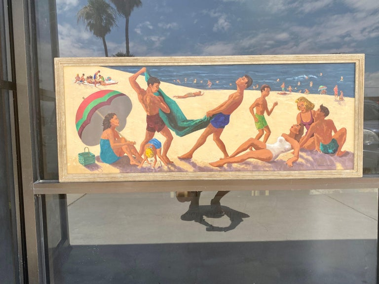 Hand-Painted Mid Century Original Oil Painting of Wonderful Bright Beach Scene For Sale