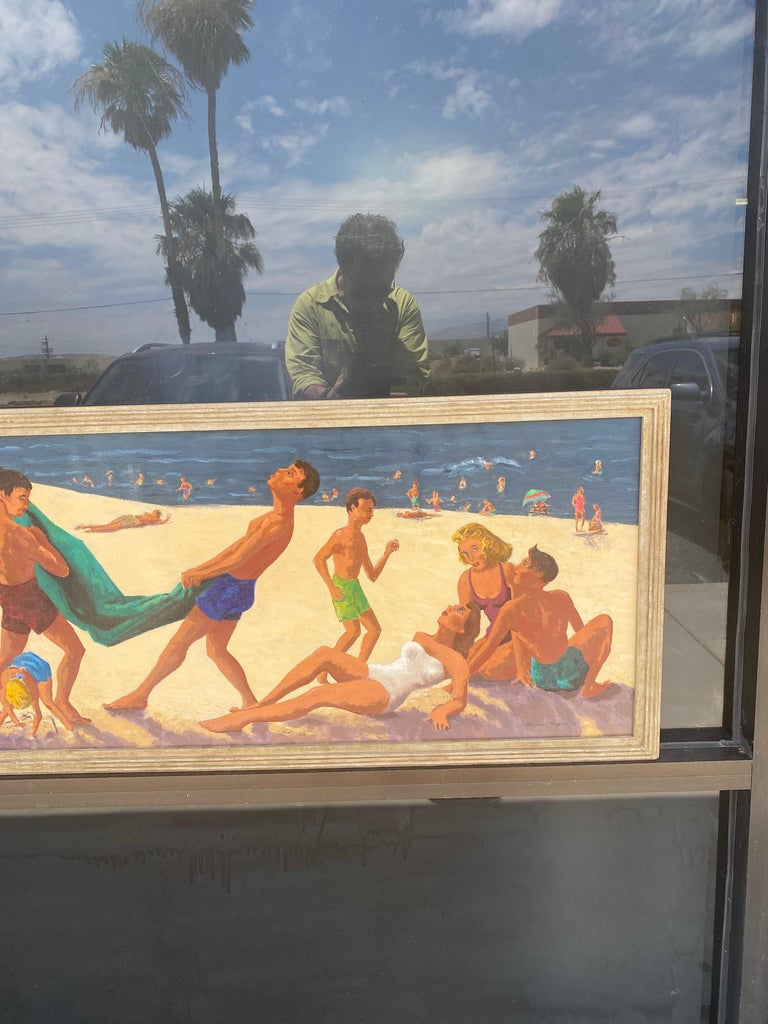 Mid Century Original Oil Painting of Wonderful Bright Beach Scene In Good Condition For Sale In Palm Springs, CA
