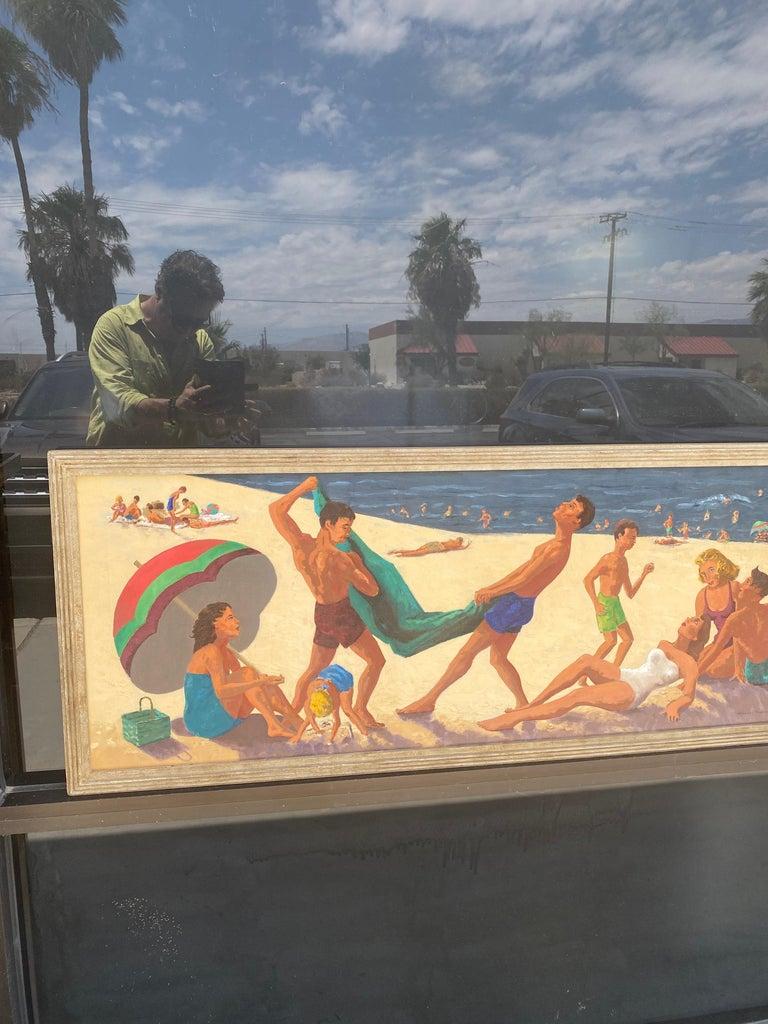 Mid-20th Century Mid Century Original Oil Painting of Wonderful Bright Beach Scene For Sale