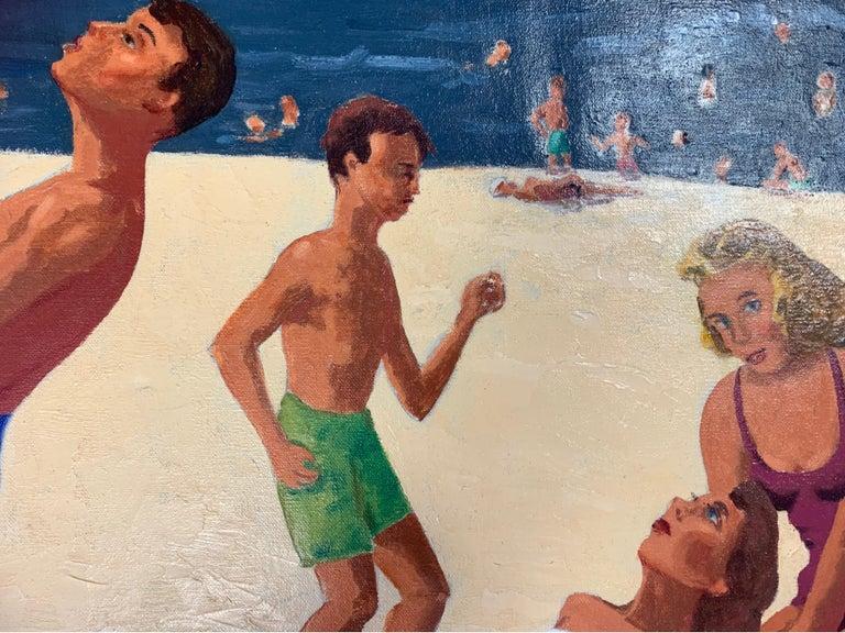 Mid Century Original Oil Painting of Wonderful Bright Beach Scene For Sale 1