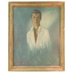 Midcentury Original Painting of Handsome Male Portrait by Listed Artist