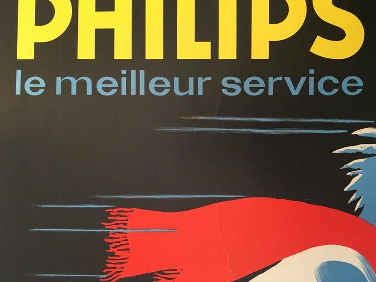 Midcentury original vintage French poster, 'Froid Philips' by Darigo   Artist Darigo  Year  1950  Dimensions: 160 x 120 cm  Format Linen backed.