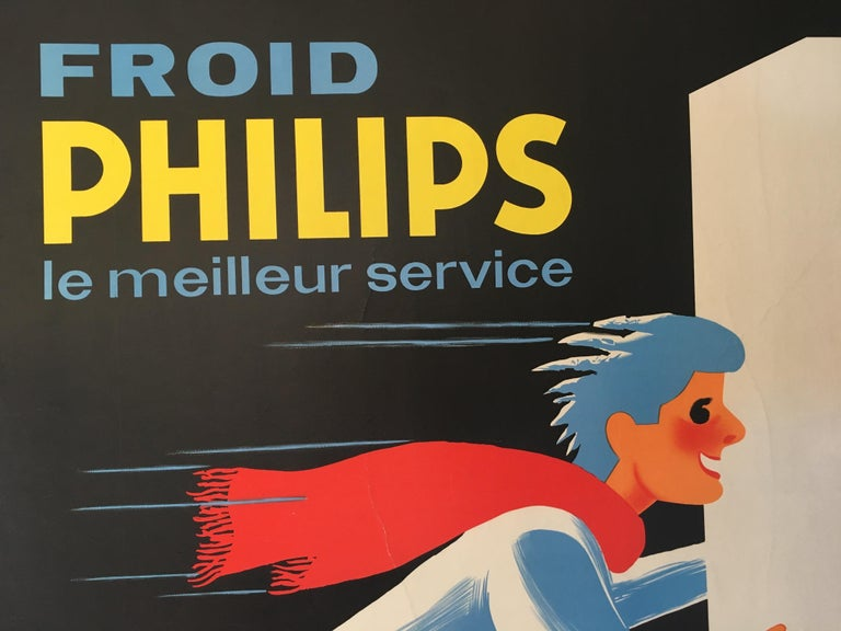 International Style Midcentury Original Vintage French Poster, 'Froid Philips' by Darigo For Sale