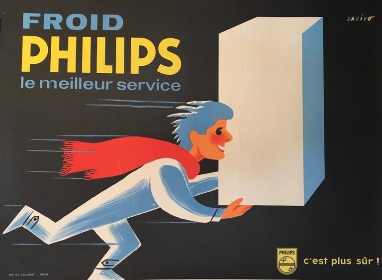 Midcentury Original Vintage French Poster, 'Froid Philips' by Darigo In Good Condition For Sale In Melbourne, Victoria