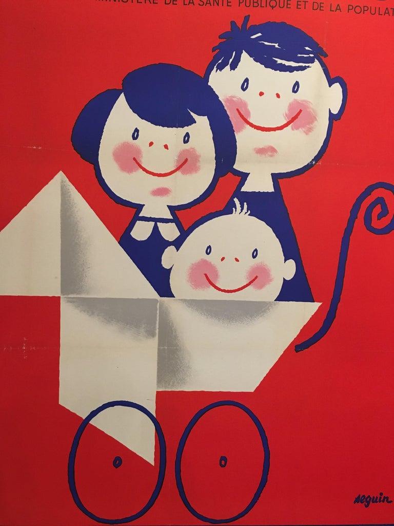 Midcentury original vintage French poster, 'Salon De L'enfance' by Seguin   Artist Seguin  Condition Good  Format Linen backed  Dimensions 160 x 120 cm.