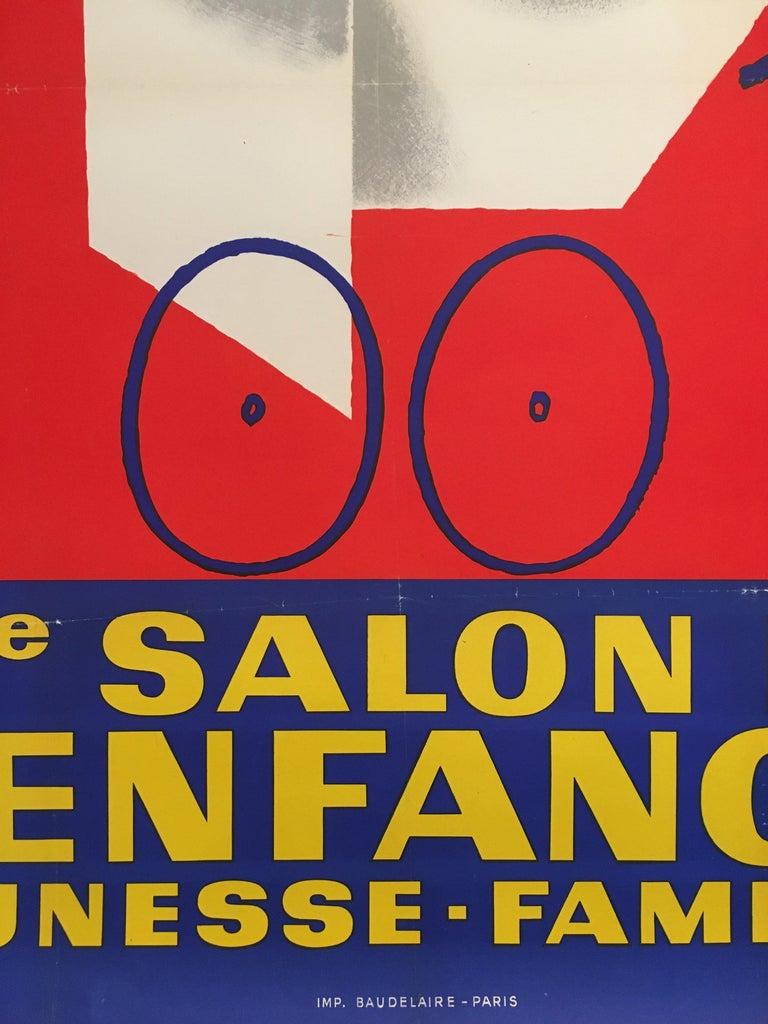 Mid-20th Century Midcentury Original Vintage French Poster, 'Salon De L'enfance' by Seguin For Sale