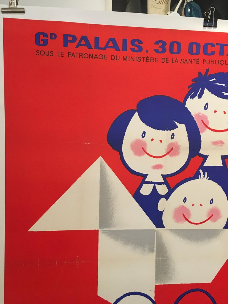 Paper Midcentury Original Vintage French Poster, 'Salon De L'enfance' by Seguin For Sale