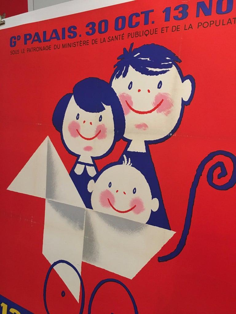 Midcentury Original Vintage French Poster, 'Salon De L'enfance' by Seguin For Sale 1
