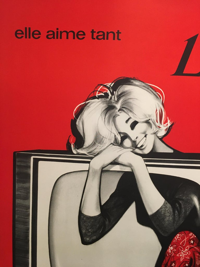 Midcentury original vintage French poster, 'Schaub-Lorenz Television L.M.T.'  This is an original poster advertising a television set which was popular throughout the earl 1950s and